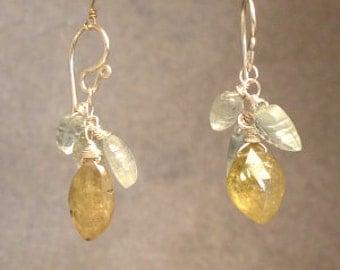 Aquamarine, green garnet gemstone drop earrings Victorian 336