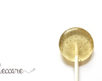 Summer Wedding Favor 12 Honey and Cardamom Lollipops // Savory Candy // Gold Lollipops // Fresh Ground Spices