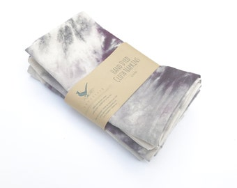 "Hand Dyed Purple and Gray Cloth Napkins Set of 4 Dinner Napkins Cotton Napkins 20"" Napkins Lunch box napkins Marble Napkins"