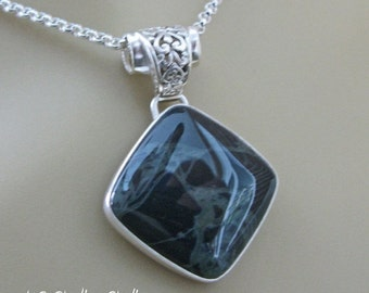 20% OFF Holiday Sale - Black and gray spider web obsidian and sterling silver metalsmithed pendant necklace on rolo chain