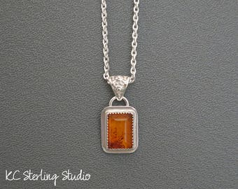 Natural Baltic amber and sterling silver pendant necklace - silversmith metalsmith