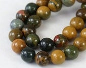 Yellow and Green Ocean Jasper Beads, 10mm Round - 15.5 inch strand - eGR-JA055-10