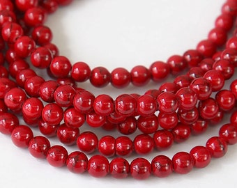Magnesite Beads, Red with Veins, 4mm Round - 15 inch Strand - eGR-MG018-4