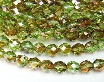Chrysolite Celsian Green Czech Glass Beads, 8mm Faceted Round - 25 pcs - eZ5080-8
