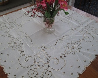 vintage wedding cake lace tablecloth, battenberg square cotton table cover, vintage wedding decor, vintage linens linen cutwork,  cottage