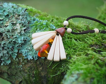 Spring Flower Birch Wood Amber Necklace Pendant, Nature Eco Friendly Wooden Necklace, Woodland Rustic Amber Pendant, Boho Hippie Pendant
