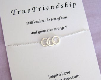 Three Best Friends Necklace, Sterling Silver Necklace, Best friend necklace, Three BEST FRIENDS, 30th BIRTHDAY for Her