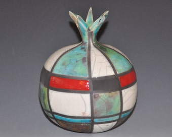 Raku pomegranate, ceramic pomegranate with abstract designs, Holidays gift, wedding gift, house warming gift, hostess gift