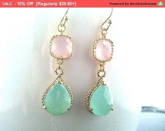 Blush Pink and Mint wedding Earings Drop Dangle Earrings, Weddng Bridal Bridesmaid Jewelry, Statement, Chirstmas GIFT,gift for her
