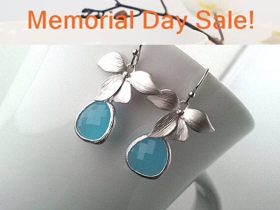 Flower with Ocean blue Wedding Earrings ,Drop, Dangle Earrings, Gemstone,Wedding jewelry,flower girl,gift