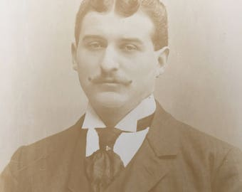Curly Mustache & Hair Victorian Hottie Vintage Photo Cabinet Card