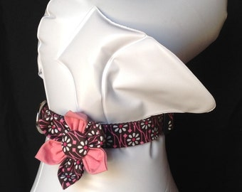 Dog Collar Flower Set - Brown And Pink Flower Print - size XS, S, M, L