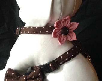 Dog Harness flower/bow tie Set - Brown And Cream Polka Dot - Size XS, S, M