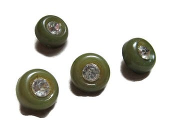 drab green shank buttons with rhinestone centers, 5/8 inch