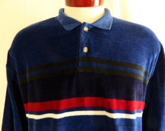 vintage 80's 90's Christopher Hayes midnight blue velour long sleeve polo shirt collared sweater horizontal red white black chest stripe XL
