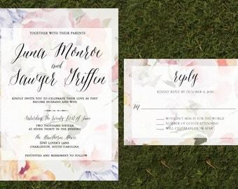 Floral Wedding Invitation, Floral Wallpaper, Vintage Floral Invitation with RSVP, Calligraphy