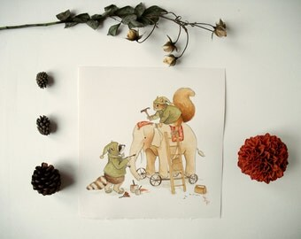 Original Painting: Santa's Little Helpers - christmas illustration, children's art, elf, saint nicholas, st nick, toy, elephant, winter snow