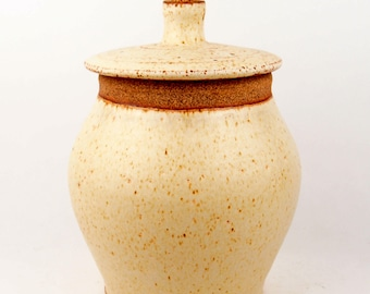 Large lidded jar canister for cookies, sugar, flour, or treasures in speckled sunshine yellow (FREE GIFT INCLUDED)