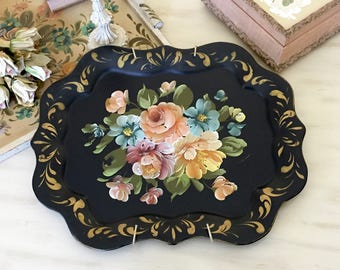 VINTAGE Black TOLE TRAY - Black Toleware Tray - Metal Floral Hand Painted Cottage Chic