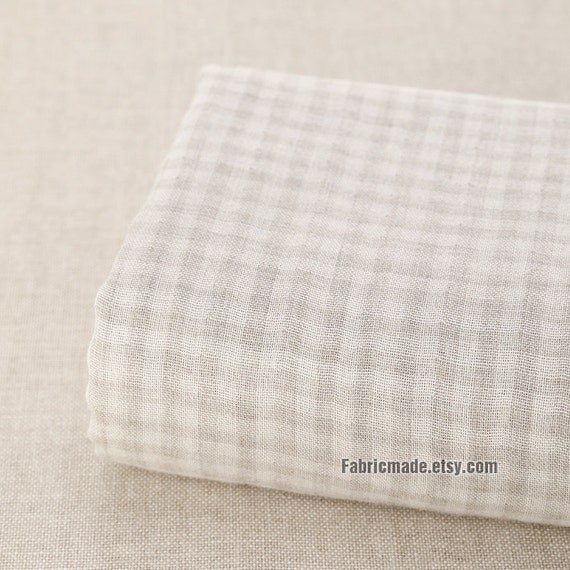 Plaid Gauze Cotton Fabric, Beige Plaid Cotton, Double Layere Gauze Cotton For Baby Kids - 1/2 Yard