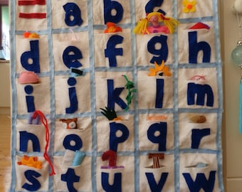 Felt  alphabet  wall hanging for nursery or bedroom.