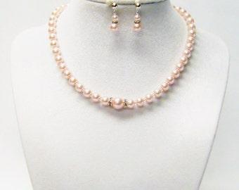 13.5 Inch Light Pink Glass Pearl Necklace/Bracelet & Earrings Set for Little Girl