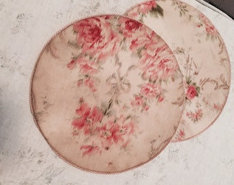 Rare antique french vintage pink rose fabric doily doilie press shabby nordic chic box display
