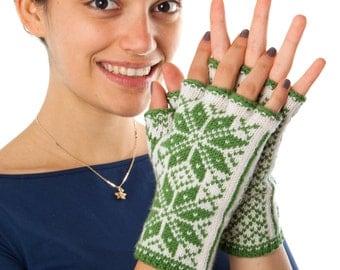 Norwegian Selbu Fingerless Gloves - hand knitted from pure merino wool! Warm and Stylish Arm Warmers Texting Gloves Merino
