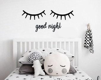 Good Night Sleepy Eyes Vinyl Wall Decal Sticker | Closed Eyes Kids Decor | Eyelashes | Baby Boys or Girls Nursery OR Kids Room