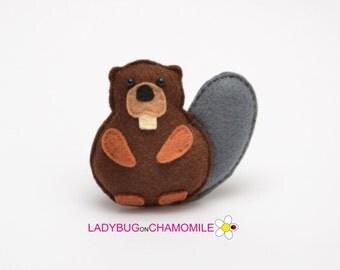 Felt BEAVER, stuffed felt Beaver magnet or ornament, Beaver toy, Forest animals,Beaver magnet,Nursery decor,felt animal,Beaver,Beaver magnet