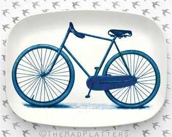 Blue, Green, or Red Bike melamine platter