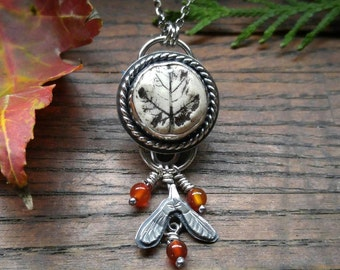 Porcelain Maple Leaf Cab and Sterling Silver Pendant Featuring Carnelian Beads and Seed Pods. Nature Inspired Artisan Silver Necklace.