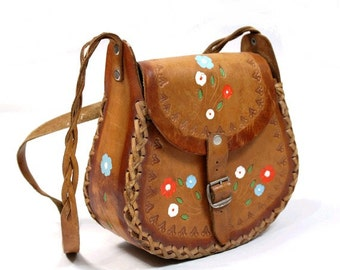 1970 tooled leather painted bag