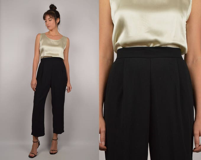 Vintage High Waist Black Crop Trousers