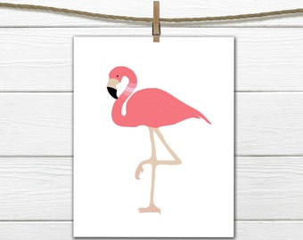 Flamingo Decor - Printable - Nautical - Tropical Decor  - Dorm Decor - 8 X 10  INSTANT Download