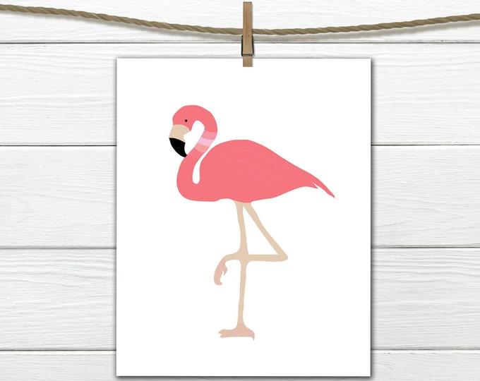 Flamingo Decor - Printable - Nautical - Tropical Decor  - Dorm Decor - 8 X 10  INSTANT Download
