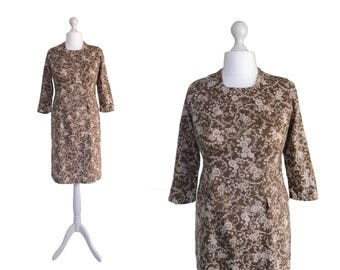 1960's Dress - 60's Vintage Dress - Brown Patterned Print Dress - Sheath Dress With Front Peplum
