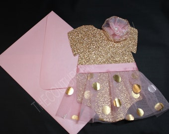 Pink and Gold Tutu 1st Birthday Invite | Pink & Gold Tutu Invitation | Pink and Gold Invitation | Pink and Gold Baby Shower Invite
