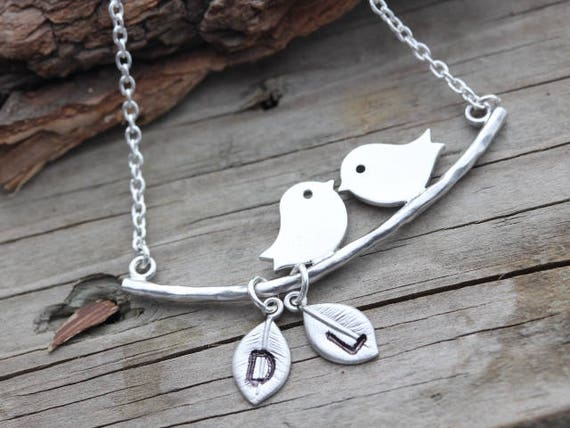 Lovebirds Necklace, Personalized charms. Mothers Necklace, Mothers day gift. Lovebirds Jewelry, Bridal Shower gift, Anniversary Gift