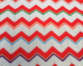 Retro Afghan, Throw, Unique Colors, 1970s