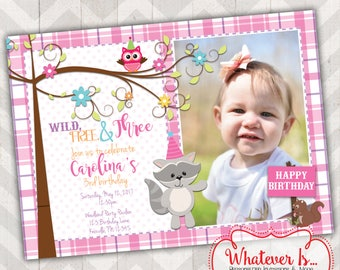 Woodland Birthday Invitation; DIY Printable; Wild Free and Three