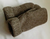 SALE - Creamy Brown - Felted Wool Sweater Mittens - Womans Medium