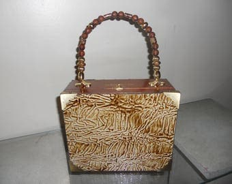 Cigarbox Purse, Leather Crinkle Print, Tina Marie Purse, Neutral/Gold/Beige