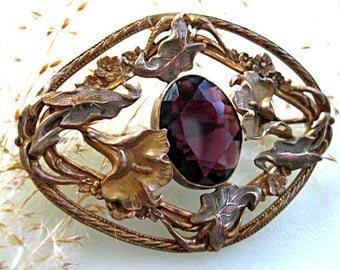 Purple Glass Sash Brooch, Faceted Oval Stone, Flower Leaf Edwardian Art Nouveau Design, Lillies Leaves Vines, Vintage Brass Mourning Brooch