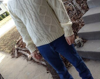 Vintage hipster 70s Sears Kings Road mens ivory white cable knit pullover sweater size xl free domestic shipping