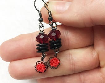 Red romantic rose and crystal earrings by Jules Jewelry Box