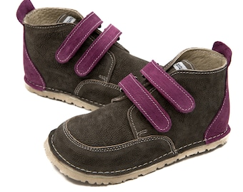 Gray leather shoes, purple straps,leather lining,Vibram sole, elcro fastening,support barefoot walking, sizes EU 21 to 31 - US 6 to 12.5