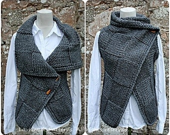 Knitting PATTERN-Big square wrap, womens sleeveless jacket pattern, cardigan pattern  - Listing131