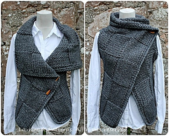 Knitting PATTERN-Big square wrap, womens sleeveless jacket ...