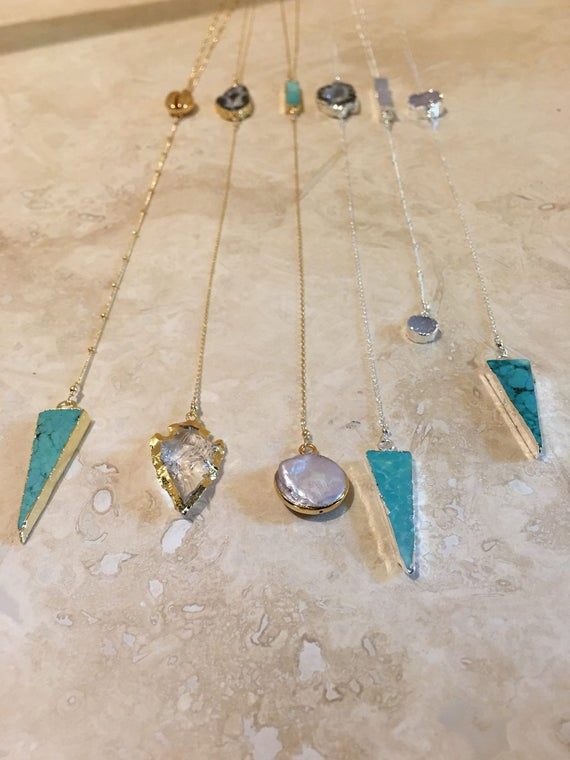 Lariat necklaces, Druzy necklaces, pearl necklaces, Turquoise necklaces, lariat jewelry, boho jewelry, festival jewelry, beach jewelry
